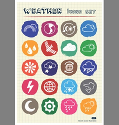 Weather web icons set drawn by chalk vector image vector image