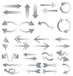 white arrows on white background gray arrows vector image