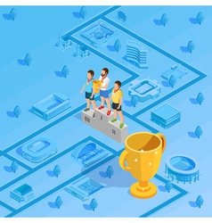 Winners Podium Stadium Background Isometric Poster vector