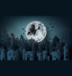 witch riding a broom flying in the sky over the vector image