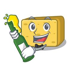 with beer gouda cheese mascot cartoon vector image