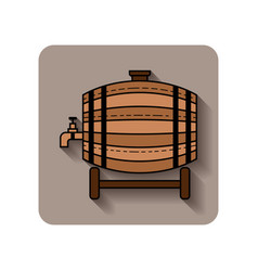 wooden barrel for beer water and beverages flat vector image
