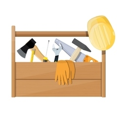Wooden toolbox full construction equipment vector