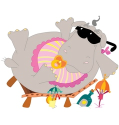 Young hippo on the beach vector