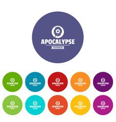 Zombie terror icons set color vector