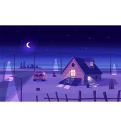 beautiful moonlight over cartoon house vector image