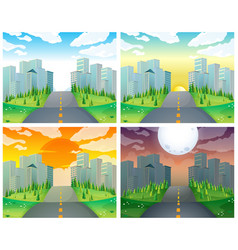 city scene with buildings and road vector image vector image