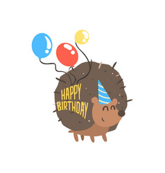 cute cartoon hedgehog in a blue party hat and vector image vector image