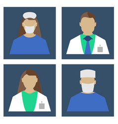 doctors set medical object flat icon vector image
