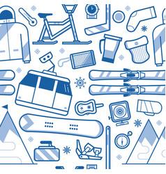 ski resort seamless pattern vector image vector image