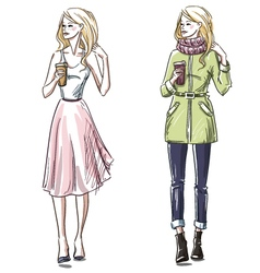 Winter and summer look vector image vector image