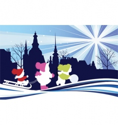 children in the Christmas city vector image vector image