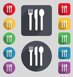 fork knife spoon icon sign A set of 12 colored vector image