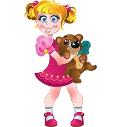 Girl in pink dress with teddy bear vector image