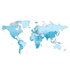Light blue detailed World map vector image vector image