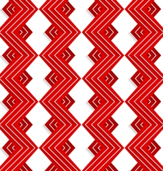 Red embossed zigzag with white lines vector image vector image