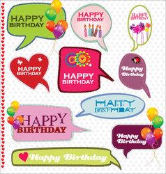Speech bubbles retro design - Happy Birthday vector image