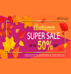 bright geometric golden autumn super sale banner vector image vector image