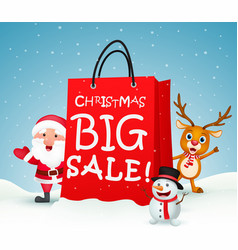 Christmas big sale with santa and friends vector