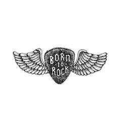 dotwork born to rock vector image vector image