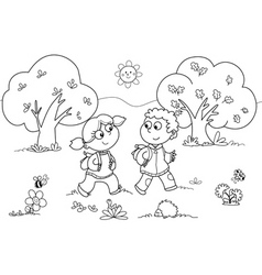 Girl and boy walking vector image vector image