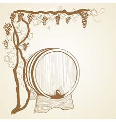grapevine and barrel vector image