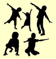 playing silhouette vector image vector image