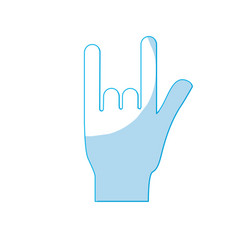 silhouette hand with rock symbol and musical vector image