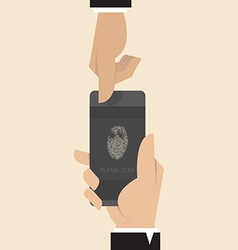 Smart phone with Finger print scanner app vector image