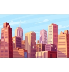Beautiful sunshine over cartoon city vector