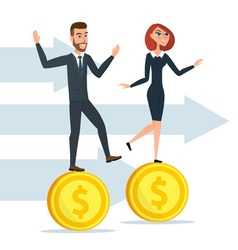 Girl and a man traveling businessmen on coins vector image vector image