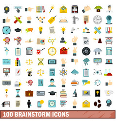 100 brainstorm icons set flat style vector