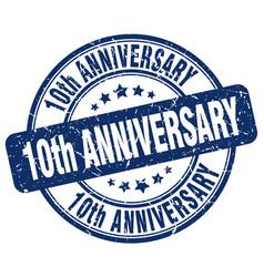 10th anniversary blue grunge stamp vector