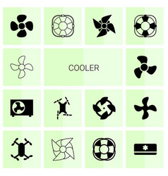 14 cooler icons vector image