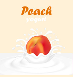a splash of yogurt from a falling peach and drops vector image