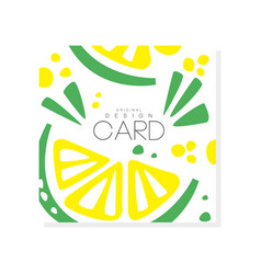 Abstract card with slices of juicy lime healthy vector