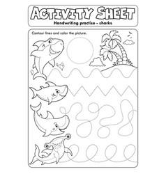 Activity sheet handwriting practise 9 vector