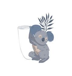 Adorable koala climbing tree australian marsupial vector