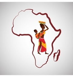 Africa design map icon flat vector