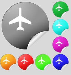 airplane icon sign Set of eight multi colored vector image