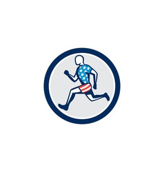 American Sprinter Runner Running Side View Retro vector