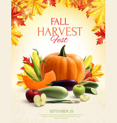autumn harvest realistic composition vector image
