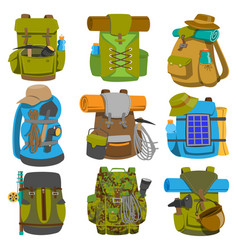 backpack camp backpacking travel bag with vector image