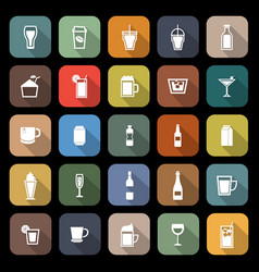 beverage flat icons with long shadow vector image