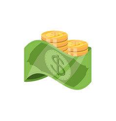 bill dollar money with coins vector image