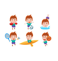 boy playing different sports set boy boxing vector image