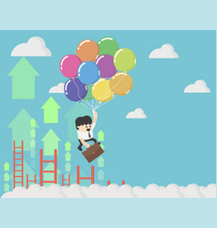 Businessman holding balloons up in the sky vector