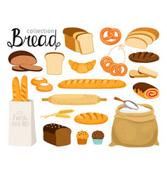 cartoon bread collection vector image