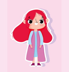 cartoon character animation little girl sticker vector image