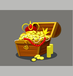 Cartoon logo icon chest with jewels vector